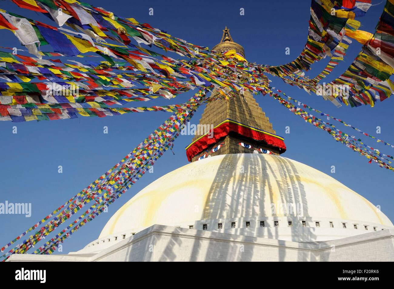 Nepal, Kathmandu valley, Bodnath listed as World Heritage by UNESCO, prayer flags on the stupa (archives) - Stock Image