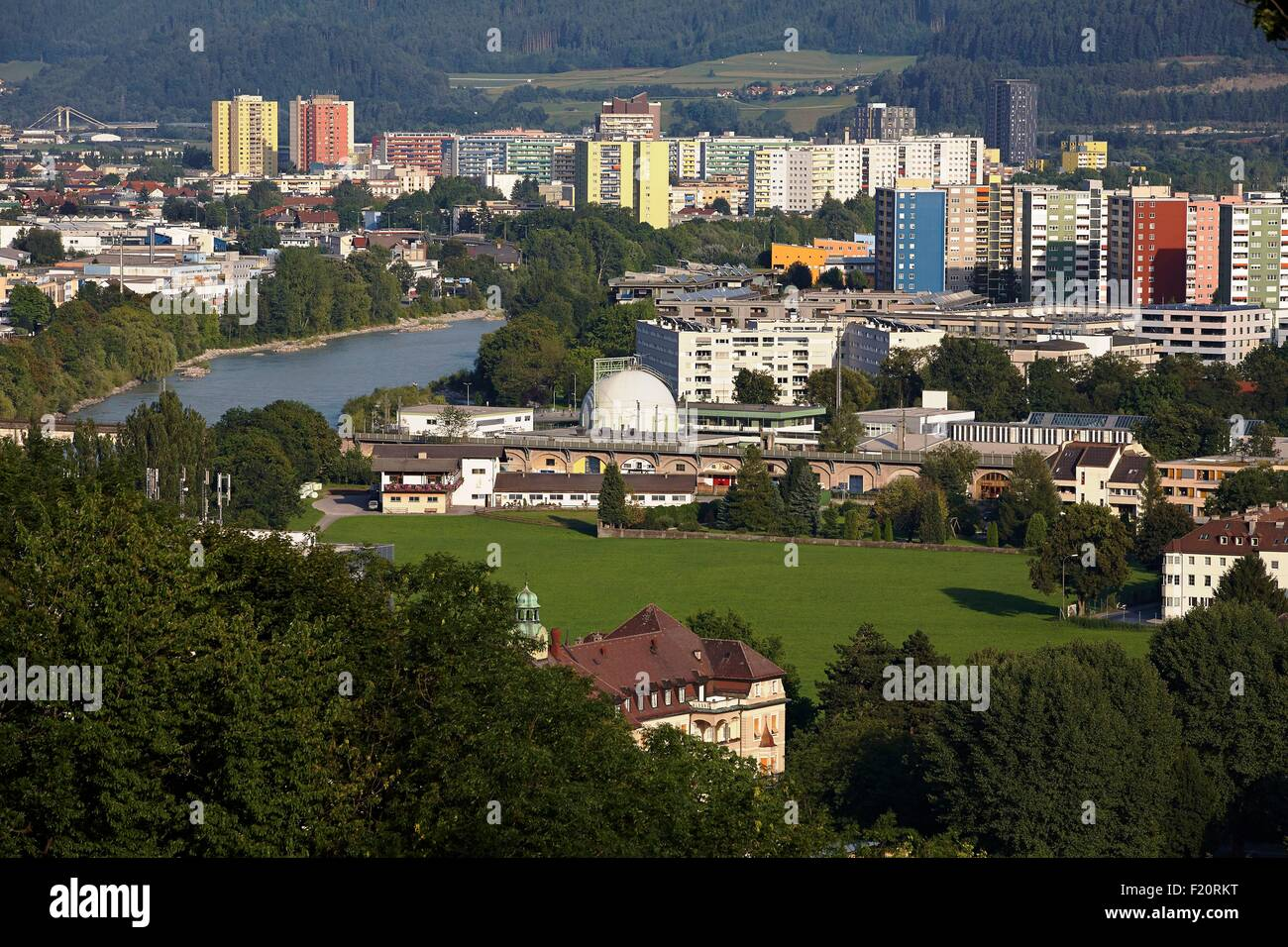 Austria, Tyrol, Innsbruck, View over the modern city crossed by the river Inn - Stock Image