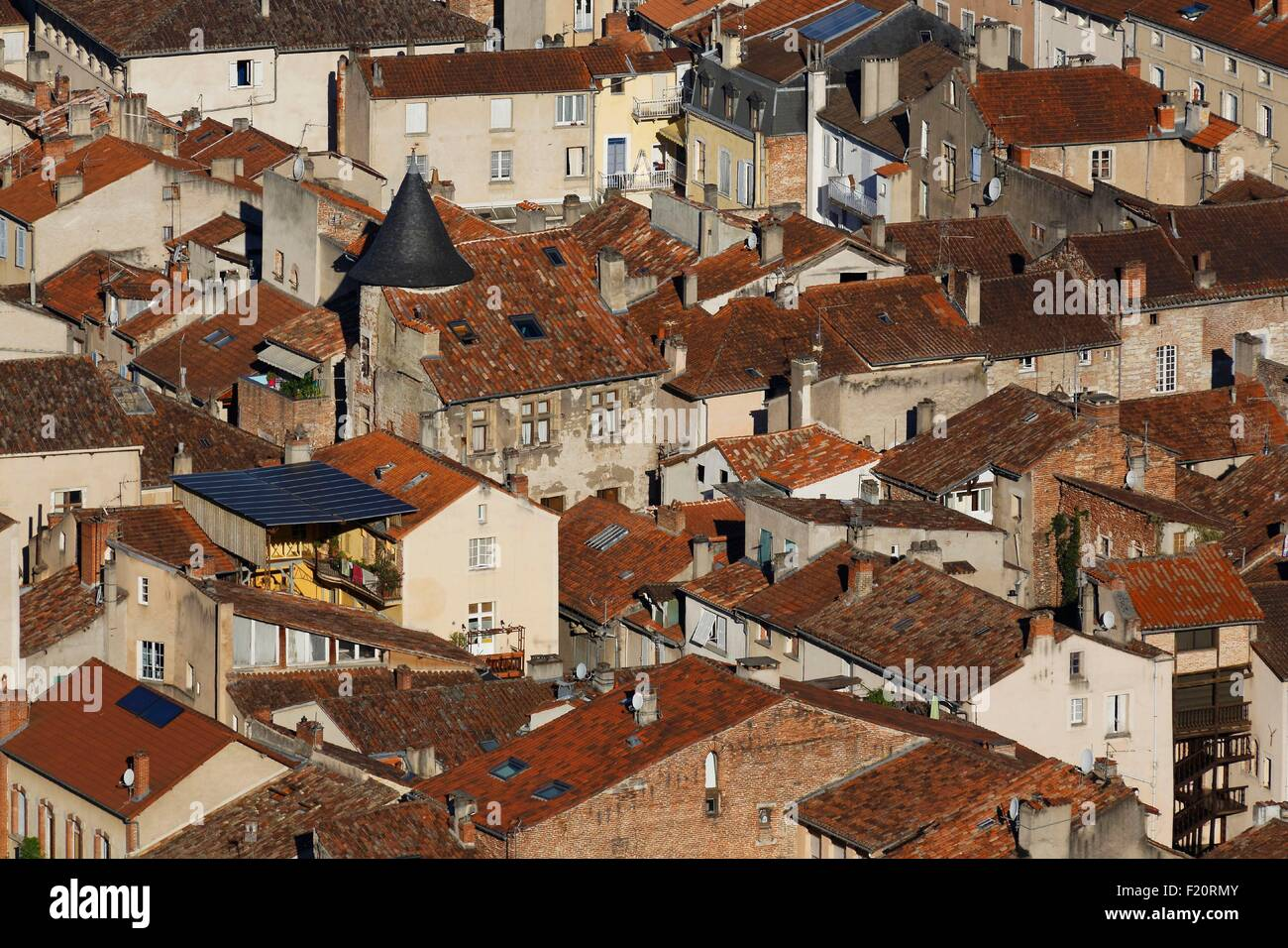 France, Lot, Bas Quercy, Cahors step on the Ways of Saint Jacques de Compostela, general view - Stock Image