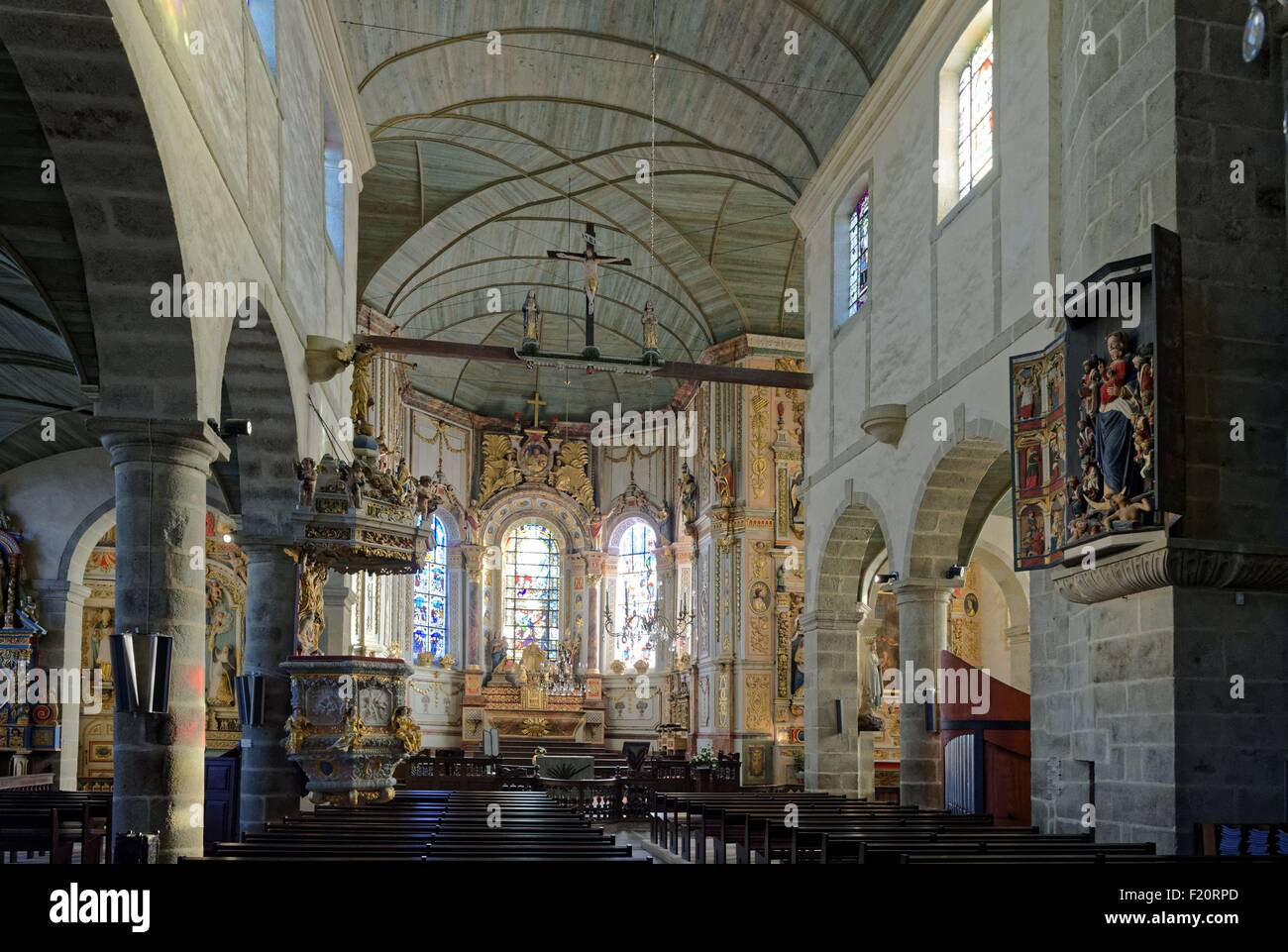 France, Finistere, stop on the Way of St James, St Thegonnec, parish enclosure, the church, the pulpit - Stock Image
