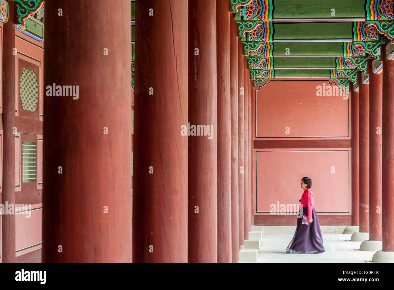 South Korea, Seoul, Jongno-gu, Gyeongbokgung Palace, royal palaces built during the Joseon Dynasty, Korean traditional - Stock Image