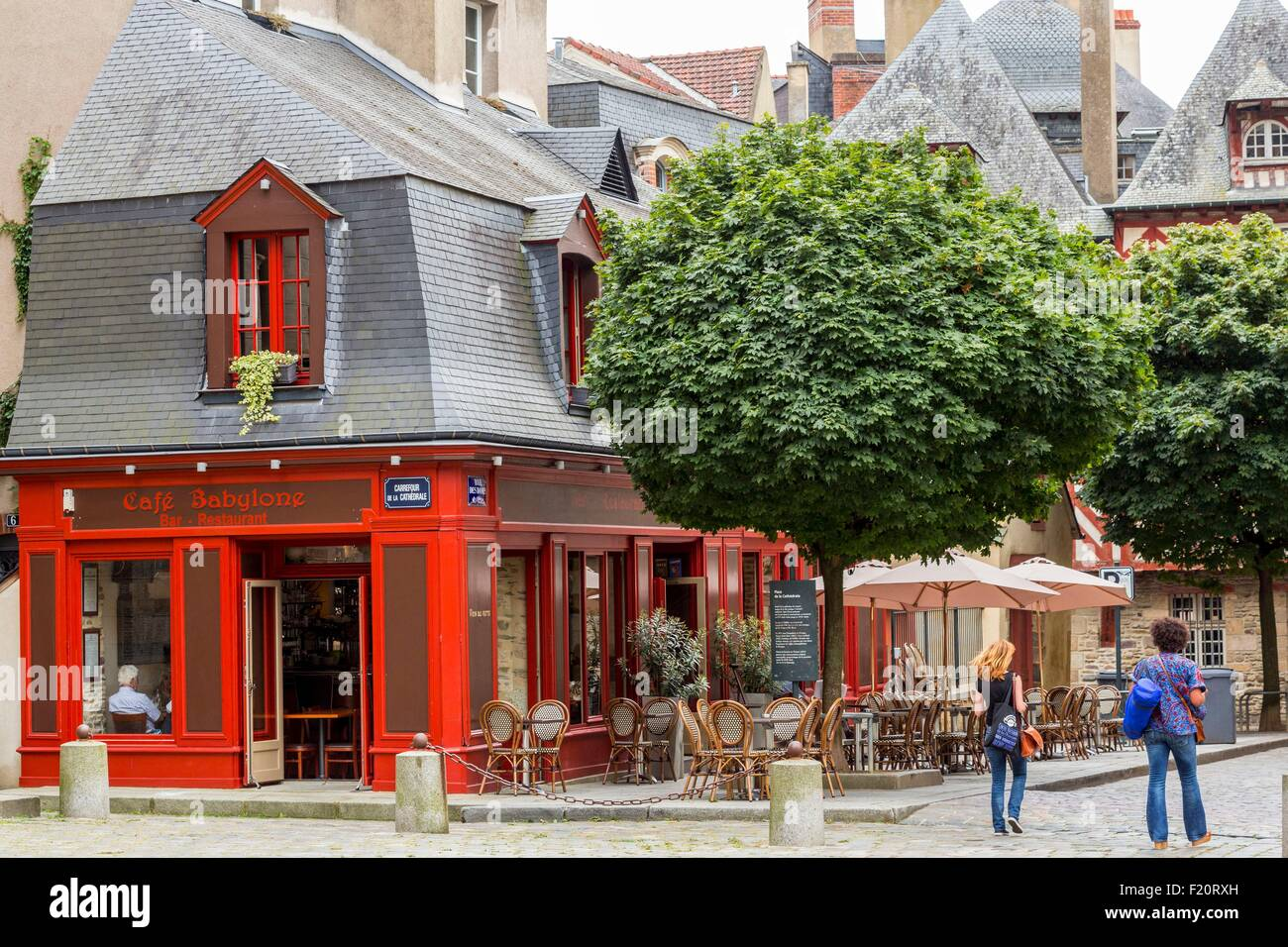France, Ille Et Vilaine, Rennes, Cathedral Square, Coffee Babylon   Stock  Image
