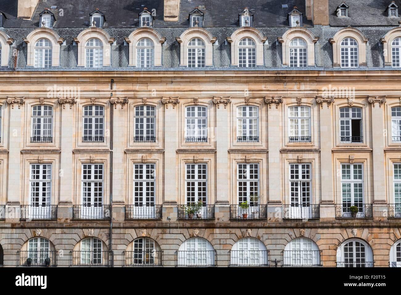 France, Ille et Vilaine, Rennes, Parliament Square, 18th century building - Stock Image