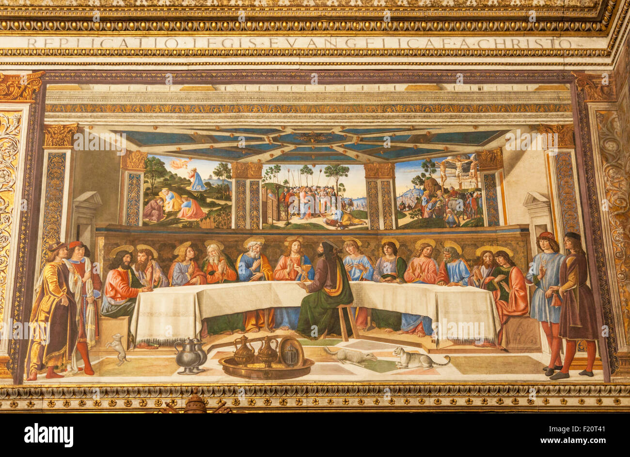 The Last Supper a fresco by Cosimo Rosselli Sistine Chapel Apostolic Palace Vatican Museum Vatican City Rome Italy - Stock Image