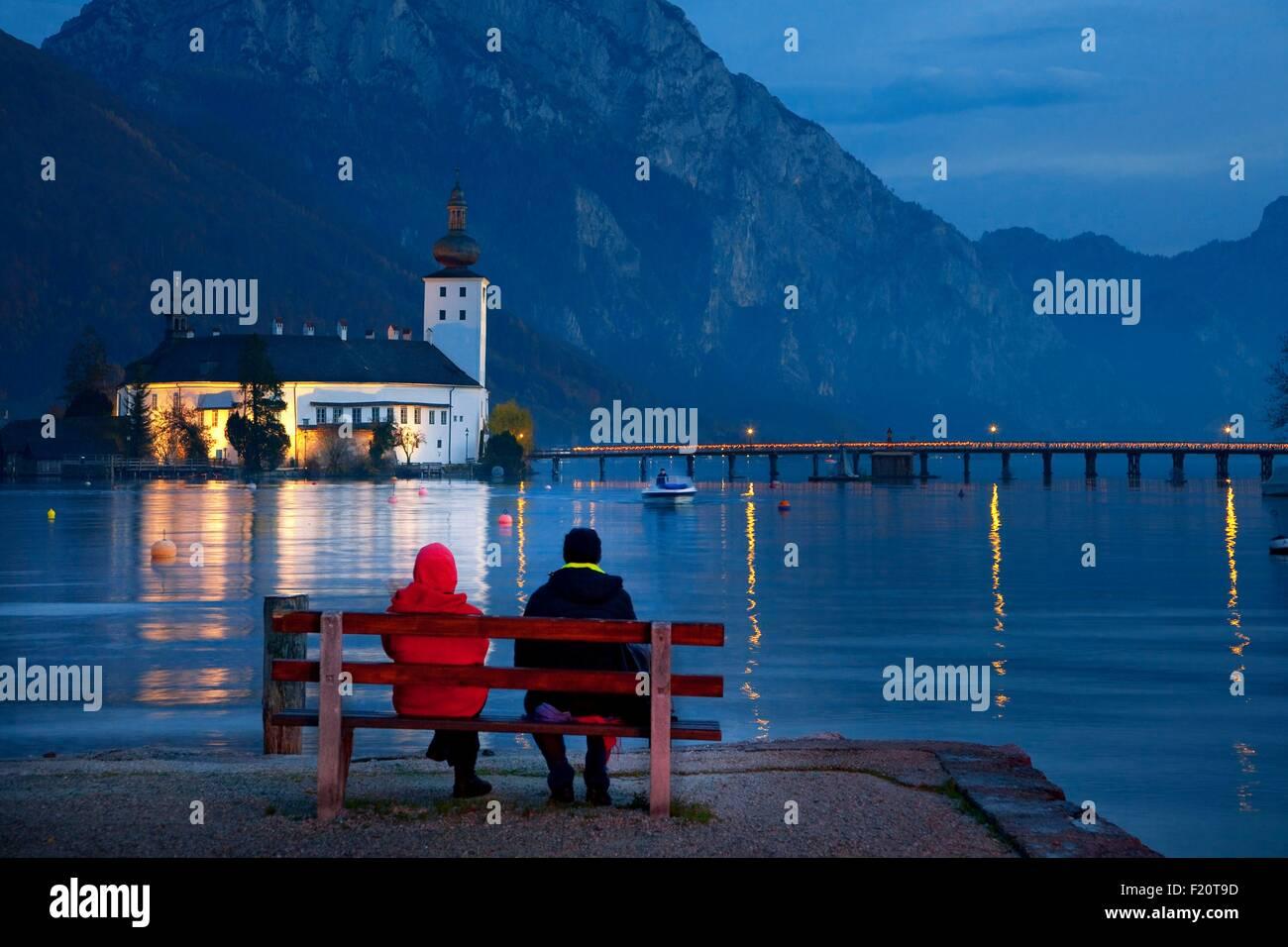 Austria, Upper Austria, Traunsee Lake, Gmunden, Ort Castle - Stock Image