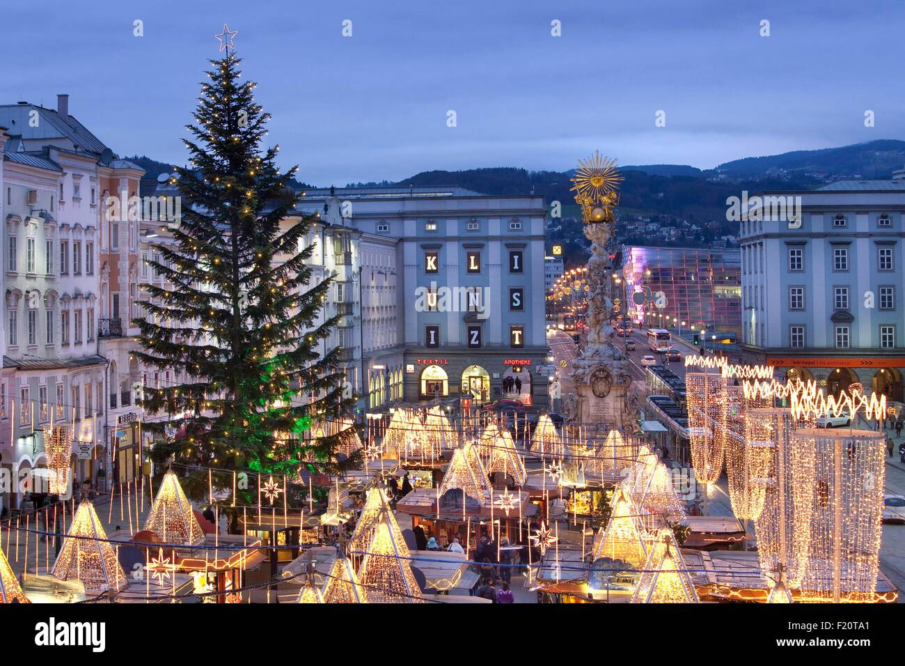 Christmas In Austria.Austria Upper Austria Linz Hauptplatz Christmas Market At