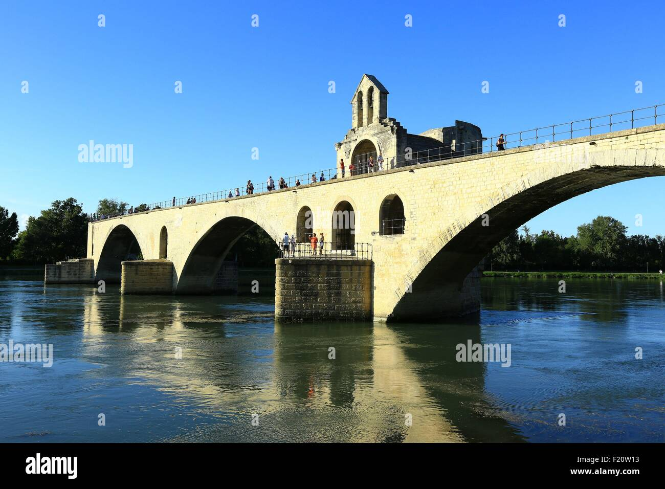 France, Vaucluse, Avignon, Saint Benezet Bridge (12th century) on the Rhone, listed as World Heritage by UNESCO - Stock Image