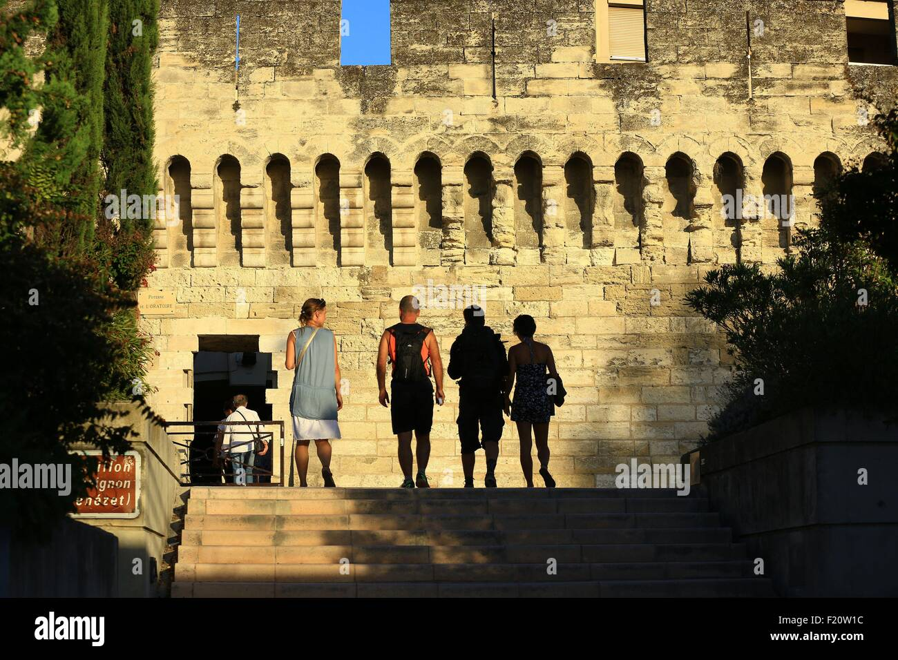 France, Vaucluse, Avignon, Saint Benezet access to the bridge (12th century), listed UNESCO World Heritage - Stock Image