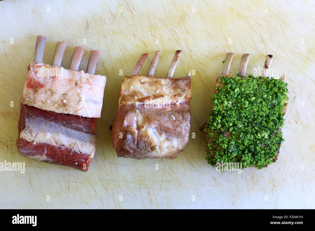 France, Vaucluse, Monieux, restaurant Lavenders, Chief Emmanuel Lopez, lamb Sault countries with herbs - Stock Image