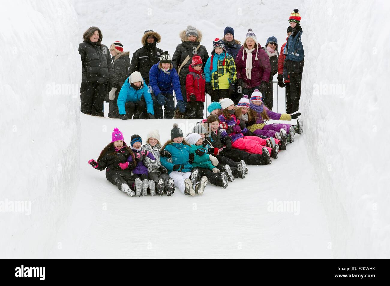 Canada, Quebec province, Outaouais, Gatineau, the Winterlude winter event, slips in Jacques Cartier Park - Stock Image