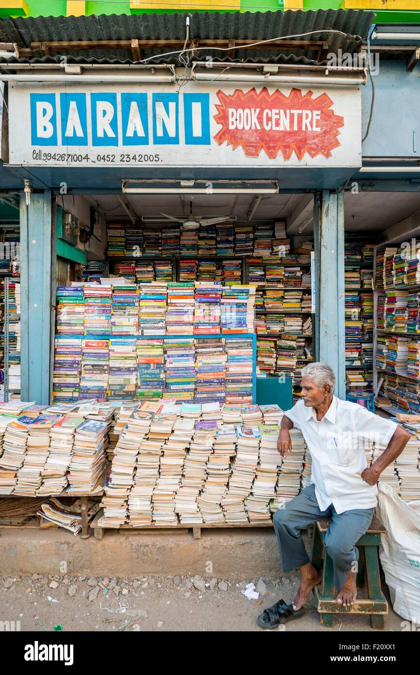 India, Tamil Nadu state, Madurai, book seller - Stock Image