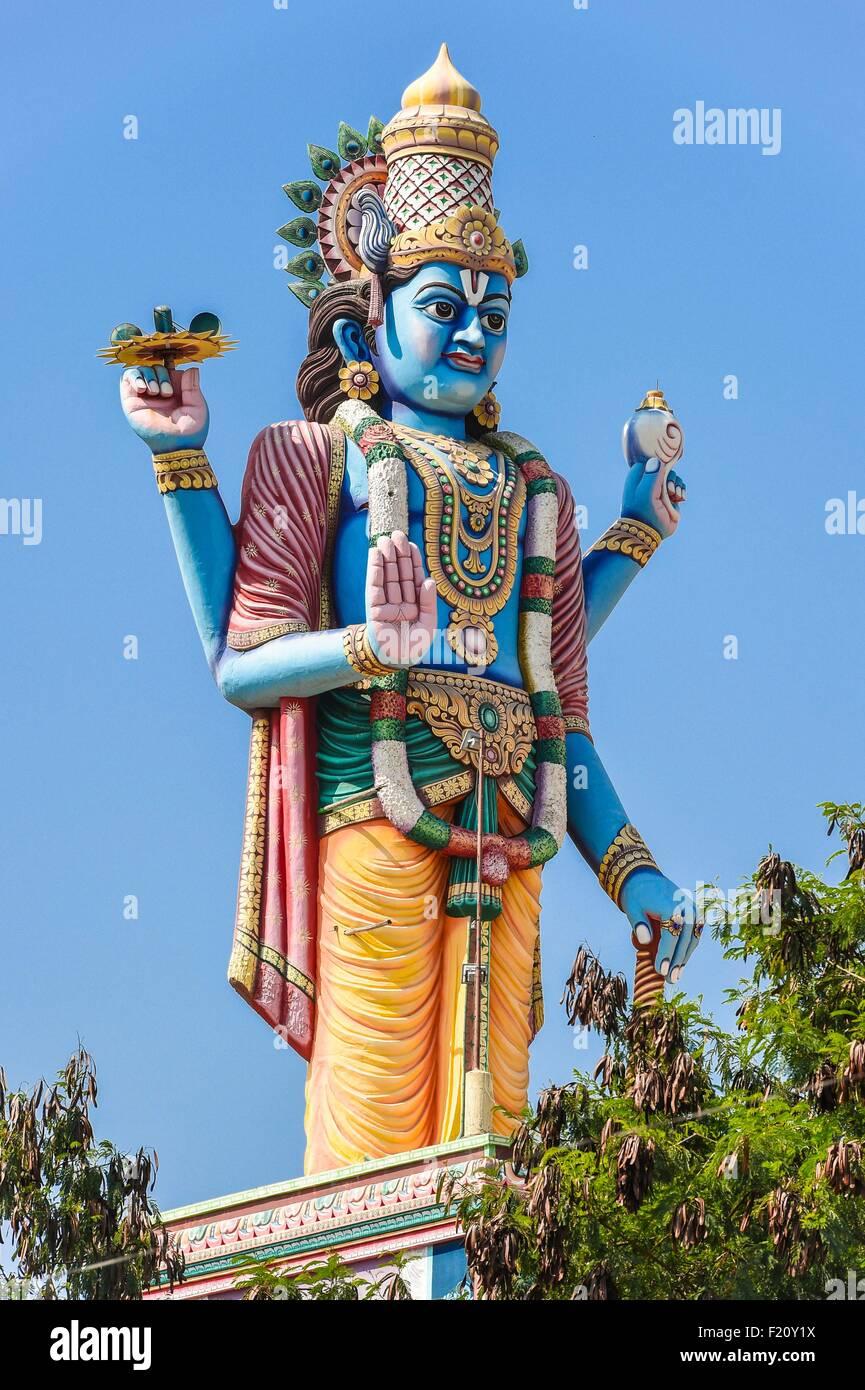 India, Tamil Nadu state, Surya Nagar, statue of Krishna on a temple - Stock Image
