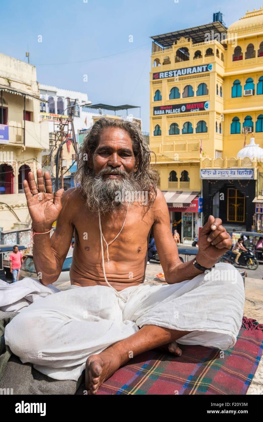 India, Rajasthan state, Udaipur, sadhu at the Jagdish Temple Stock Photo