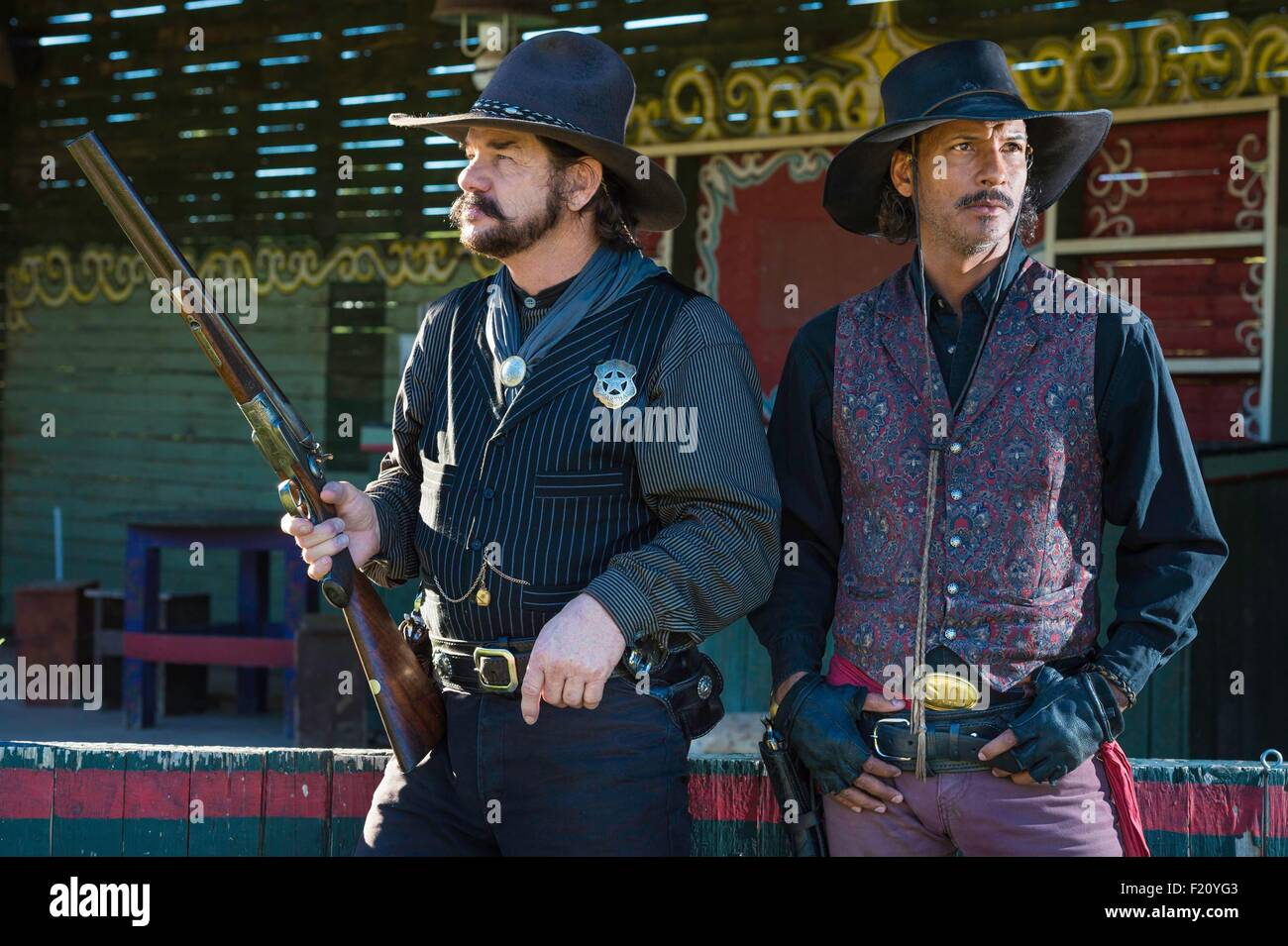United States, Arizona, Tombstone, historic district, actors Woody and Andy - Stock Image