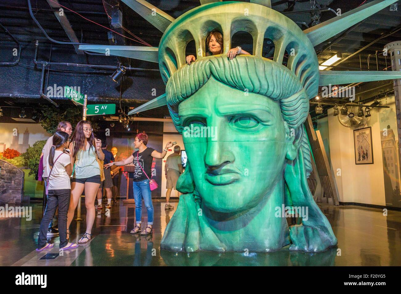 United States, New York City, Manhattan, Midtown, Madame Tussauds Wax Museum, reproduction of the Statue of Liberty's - Stock Image