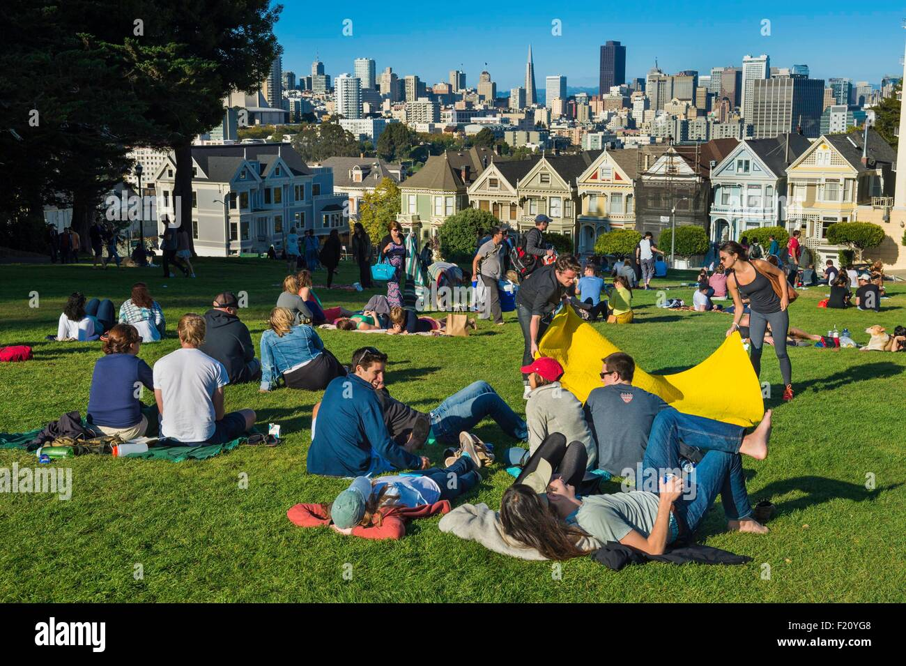 United States, North America, California, San Francisco, Alamo Square, Victorian houses (Painted Ladies or Pink - Stock Image