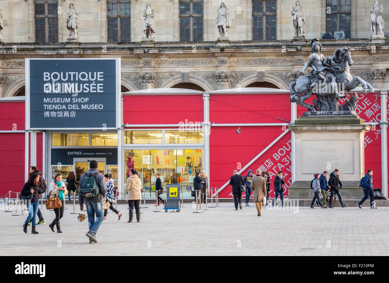 France, Paris, the temporary museum shop of the Louvre - Stock Image