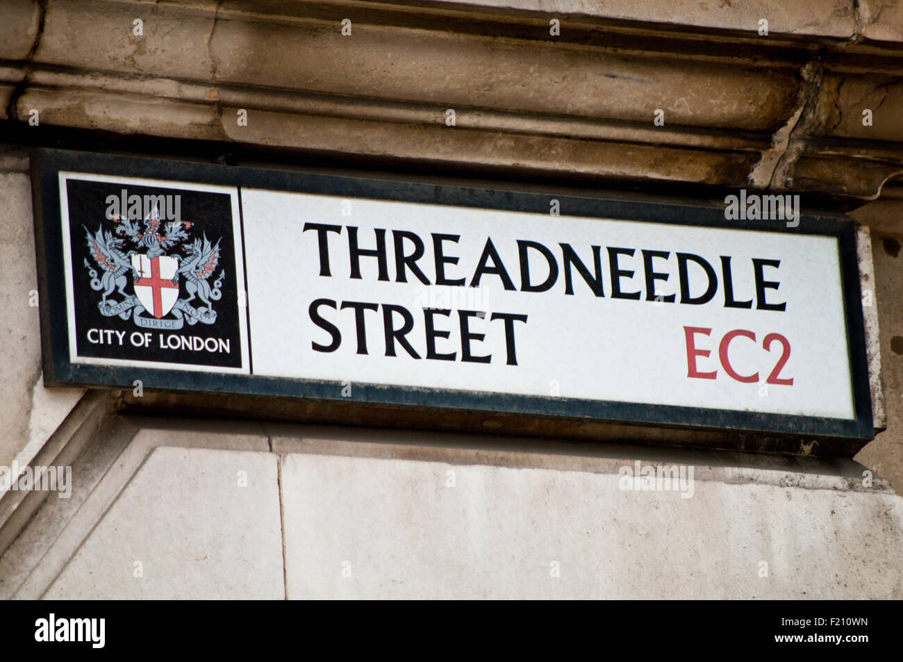 Street sign for Threadneedle Street, City of London England Great Britain - Stock Image