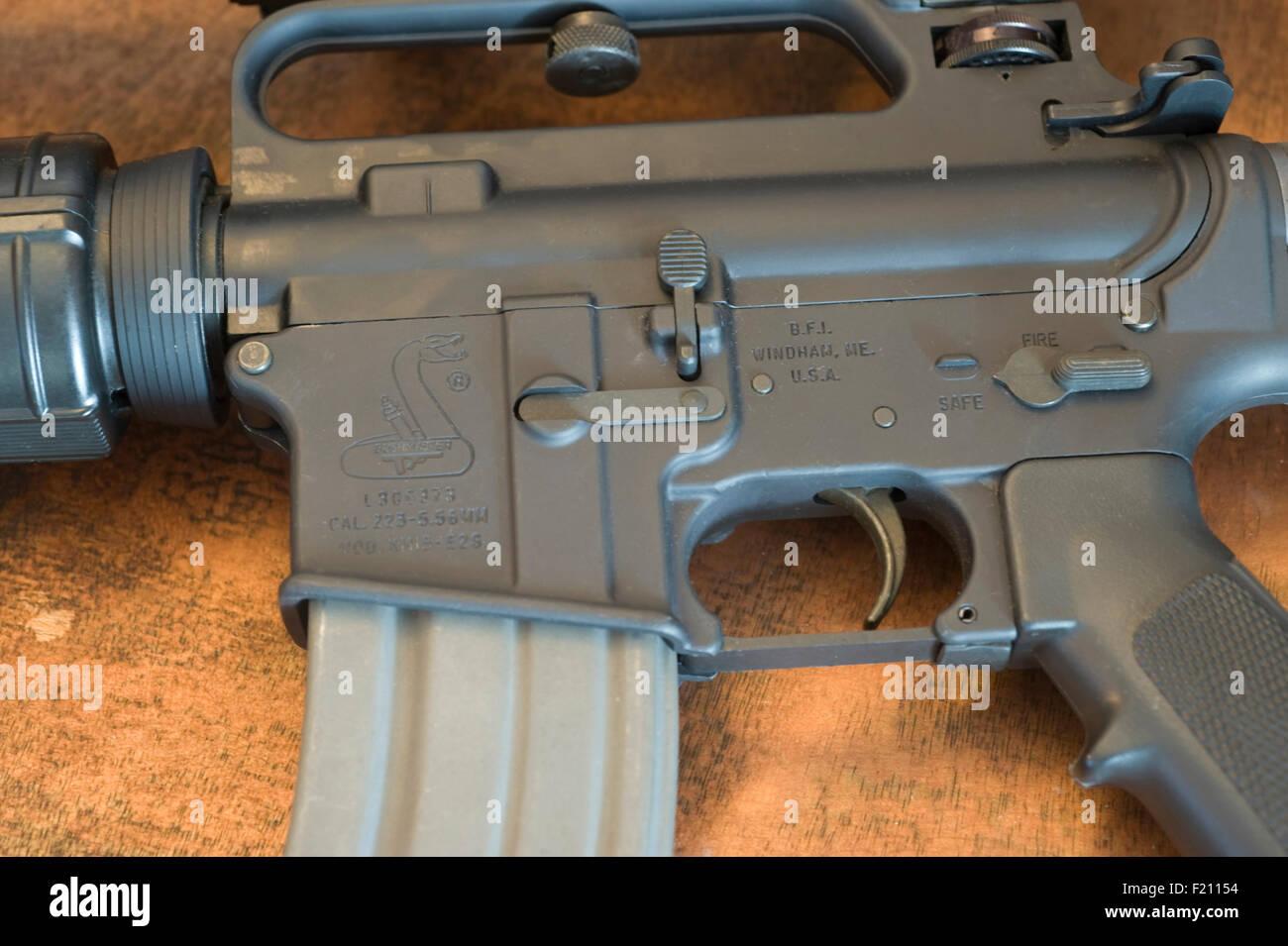 Bushmaster AR-15 assault rifle with 30 round 5 56mm magazine