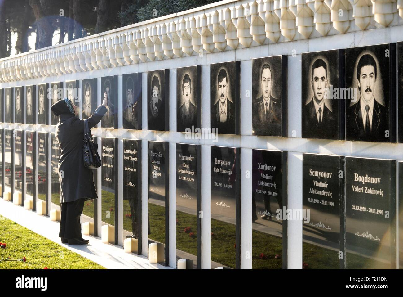 Azerbaijan, Baku, Martyrs' Lane (Alley of Martyrs), tombs of those killed by the soviet army during Black January - Stock Image