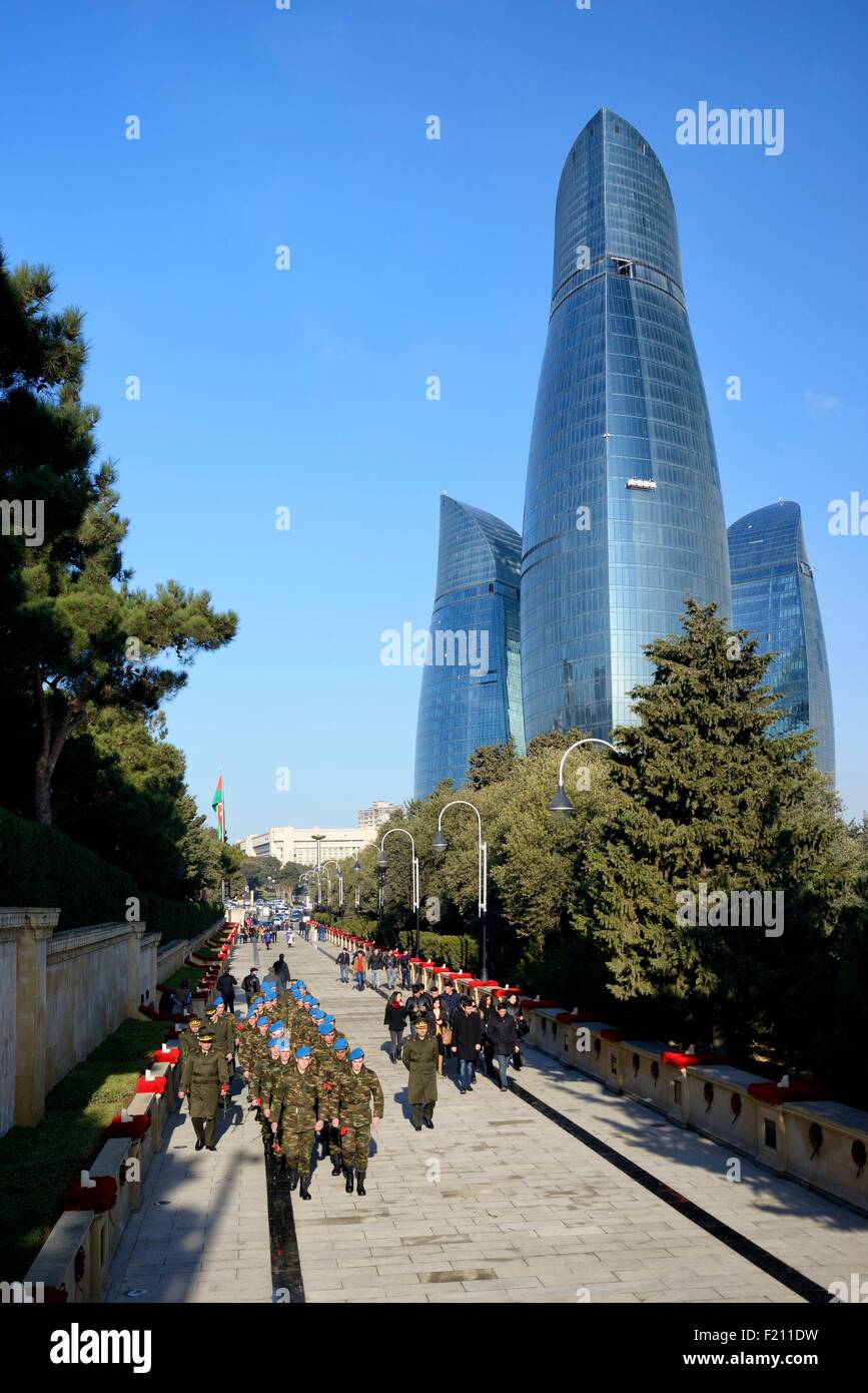 Azerbaijan, Baku, Martyrs' Lane (Alley of Martyrs), military ceremony during the 25th Martyrs' Day commemoration - Stock Image