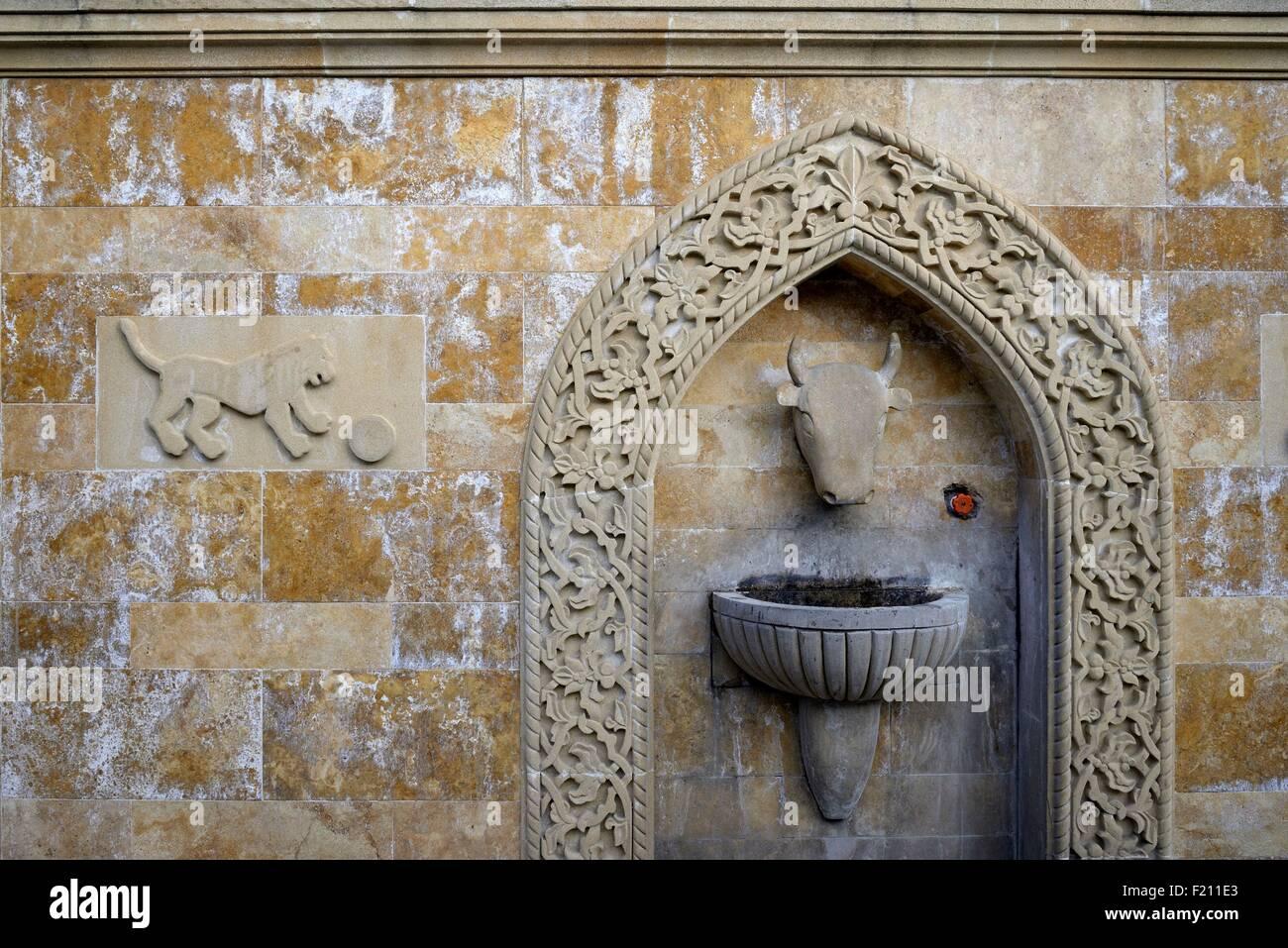 Azerbaijan, Baku, the Old City (Old Town, Ichari Shahar) listed as World Heritage by UNESCO, fountain - Stock Image