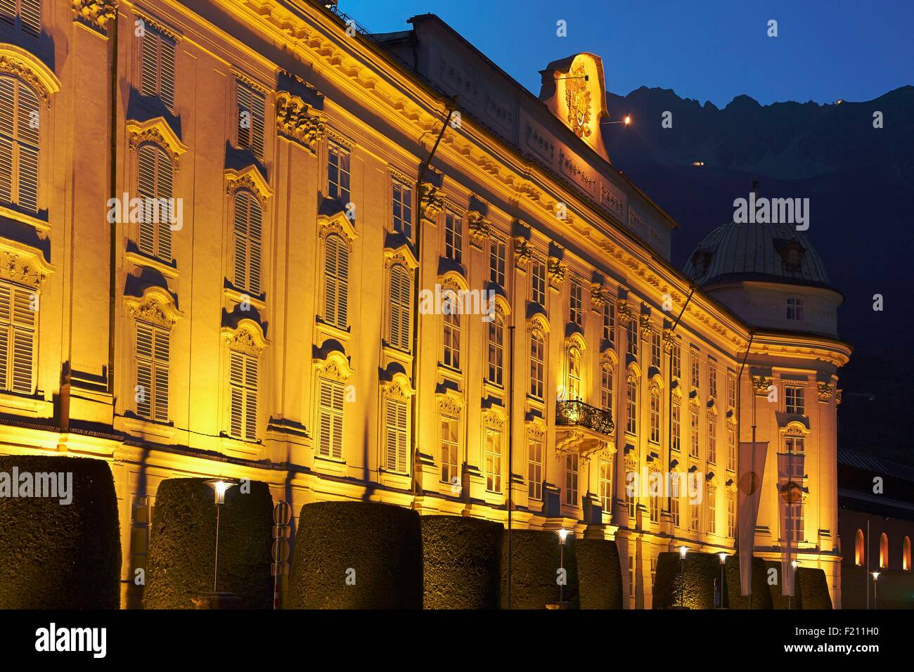 Austria, Tyrol, Innsbruck, Blue hour at the Imperial Palace Stock Photo