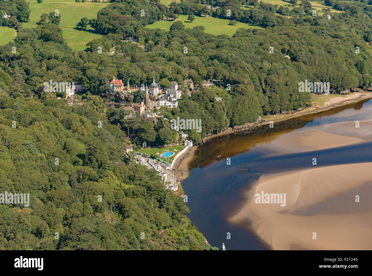 Aerial views of Portmeirion Village 1st August 2015 PHILLIP ROBERTS Stock Photo