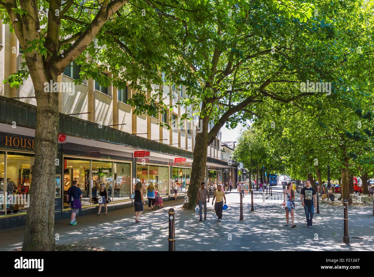Shops on The Promenade, Cheltenham, Gloucestershire, England, UK - Stock Image