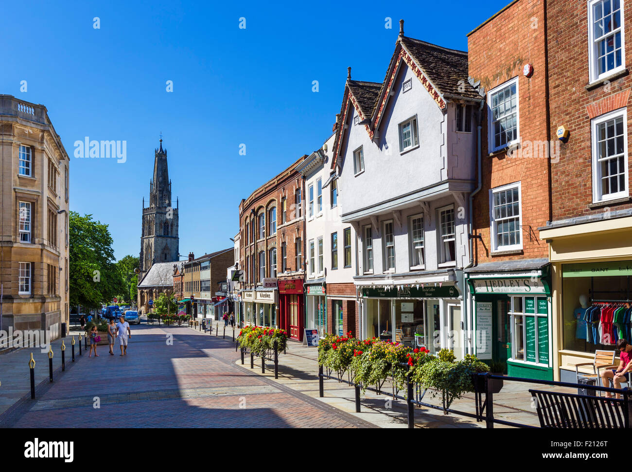 Westgate Street in the city centre looking towards St Nicholas church, Gloucester, Gloucestershire, England, UK - Stock Image