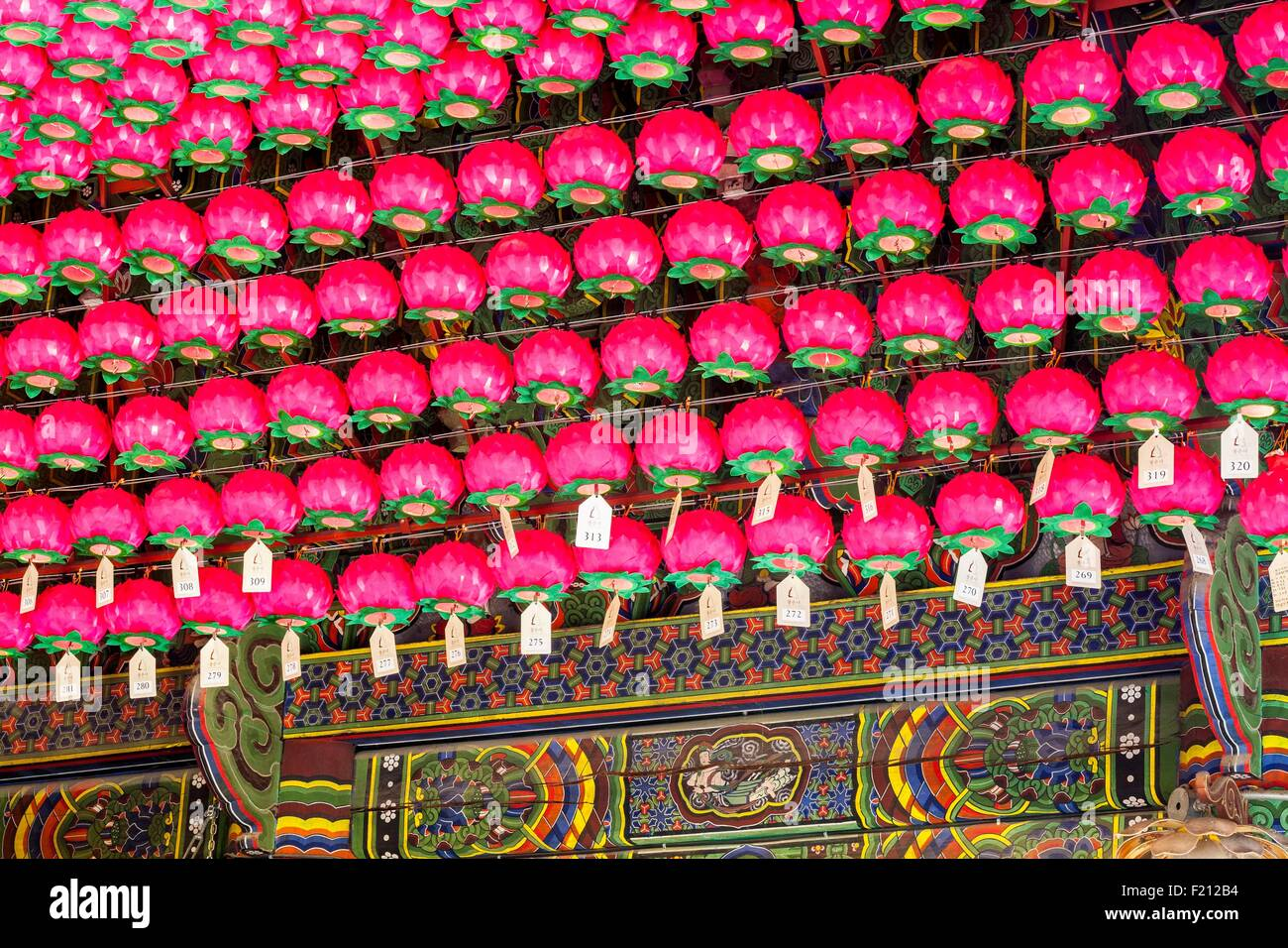 South Korea, Seoul, Samseong-dong, Bongeunsa Buddhist temple founded in the 8th century, lotus-shaped lanterns - Stock Image