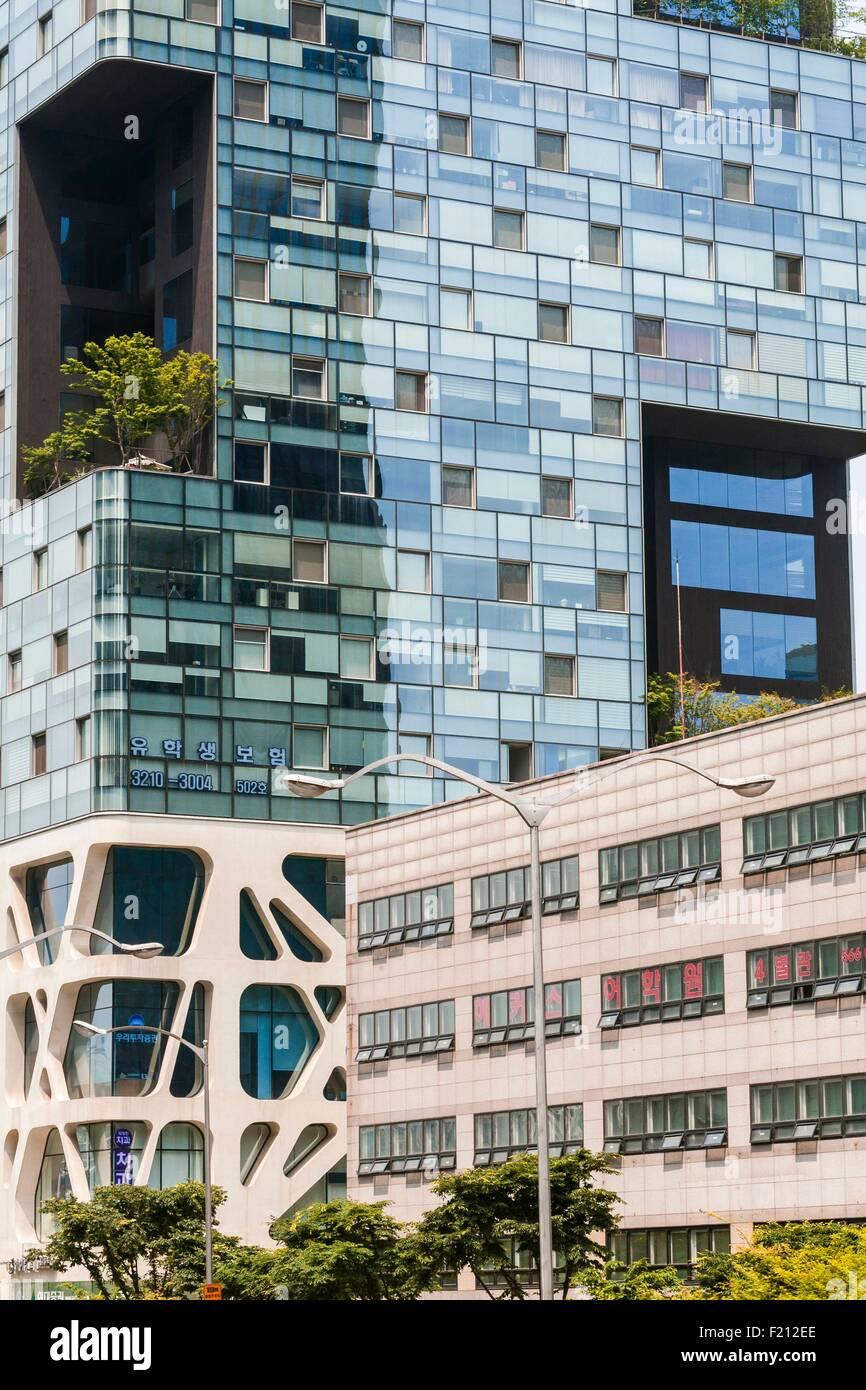 South Korea, Seoul's Gangnam neighborhood, Teheranno, office buildings - Stock Image