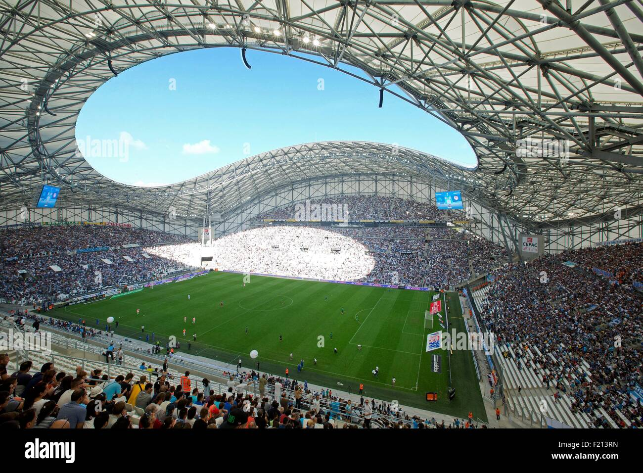 France, Bouches du Rhone, Marseille, Roundabout area of the Prado, the Velodrome stadium (SCAU Architects and Didier - Stock Image