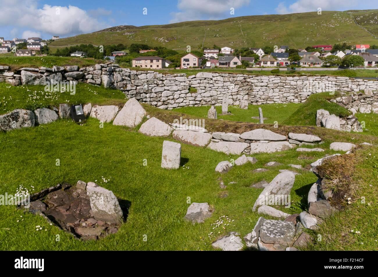 United Kingdom, Scotland, Shetland islands, Lerwick, Clickimin broch - Stock Image
