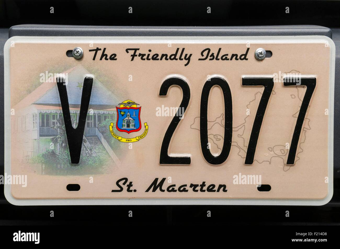 France, French West Indies, Saint Martin island, registration plate and local island devise on local vehicle - Stock Image