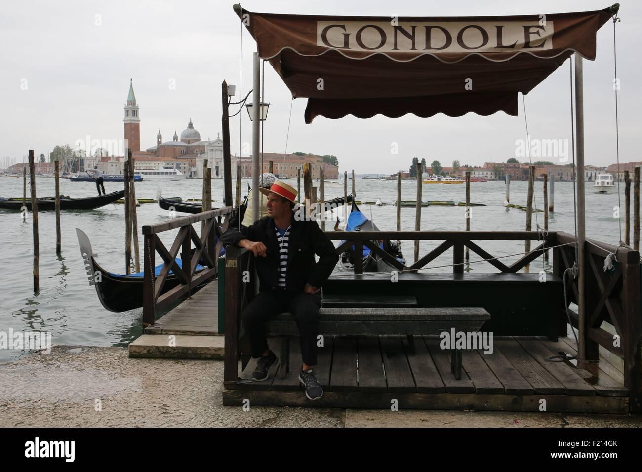 Italy, Venice, gondola sailor or gondolier - Stock Image