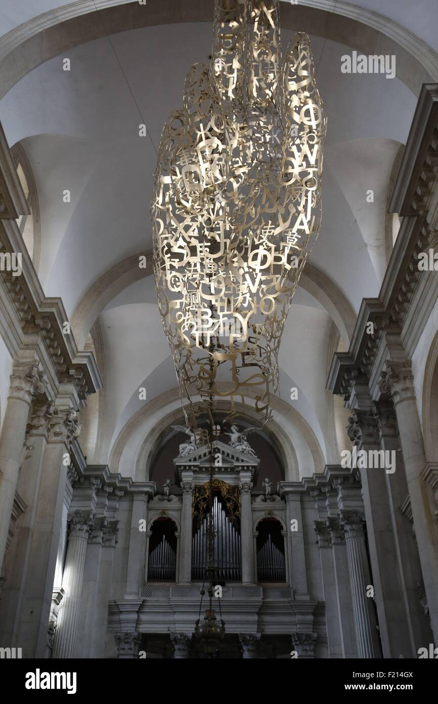 Italy, Venice, art exhibitions during the Biennale 2015, Together at San Georgio Maggiore basilica, sculptures by - Stock Image