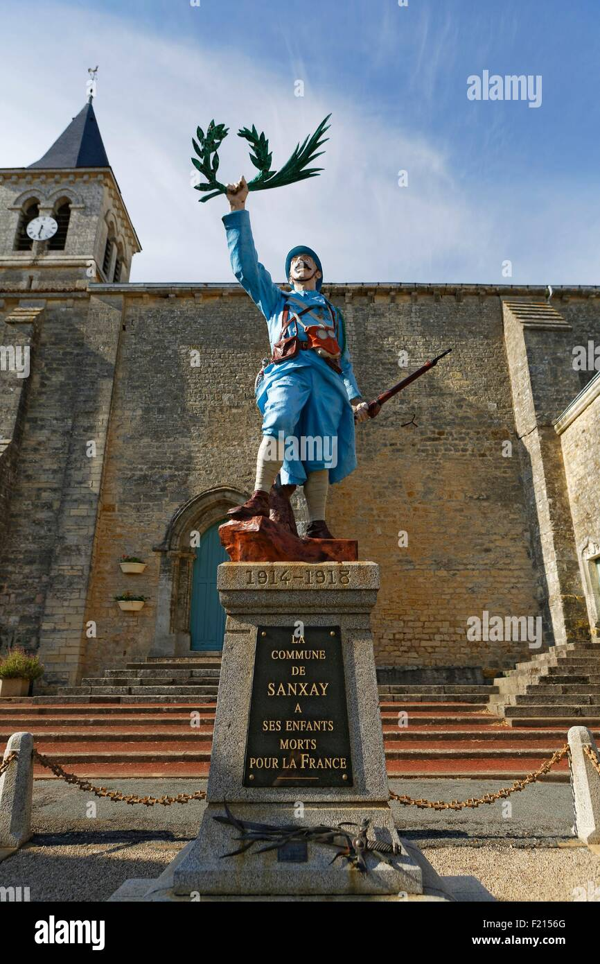 France, Vienne, Sanxay, memorial, polychrome soldier - Stock Image