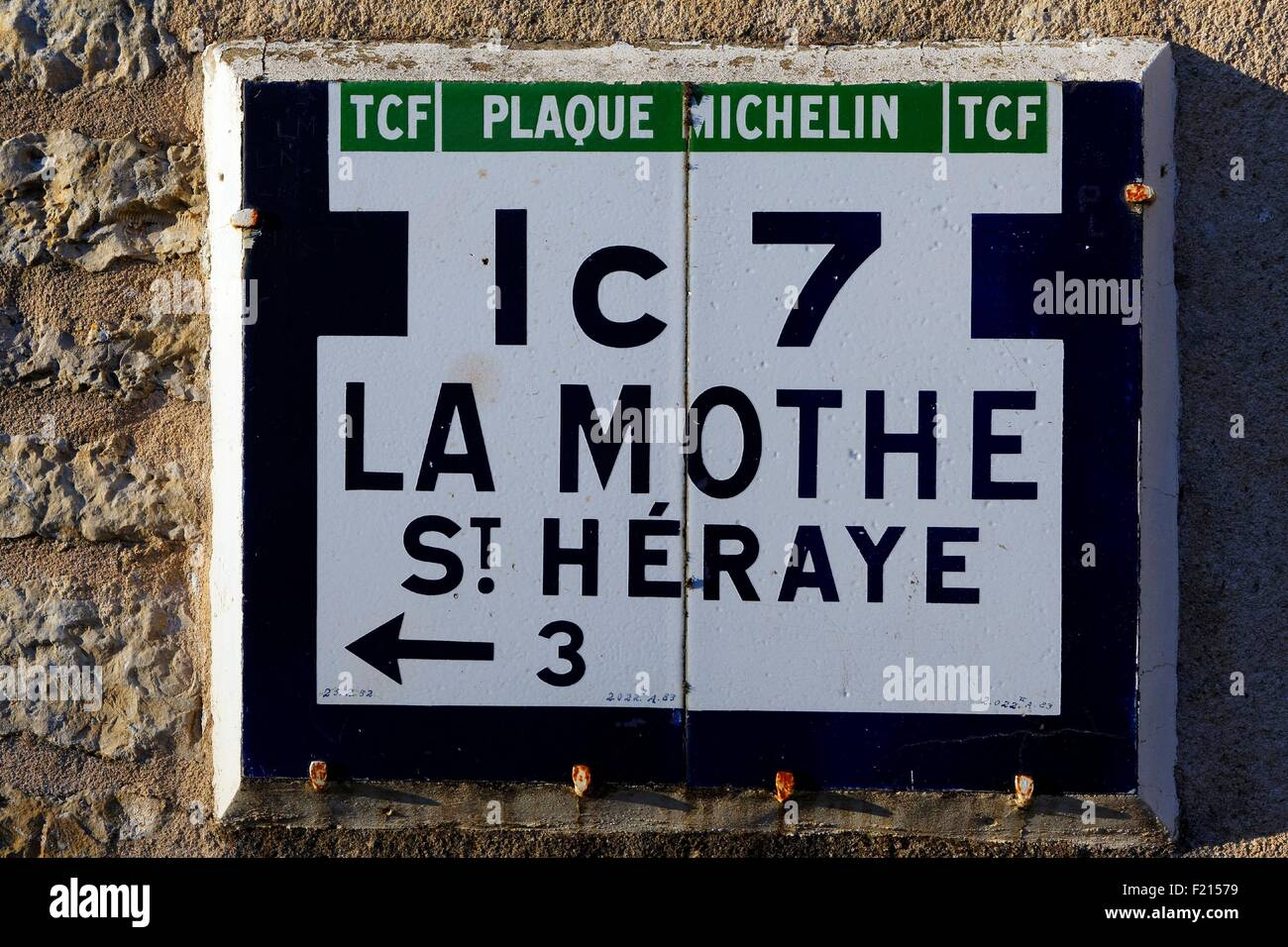 France, Vienne, Exoudun, old Michelin road signs plate - Stock Image