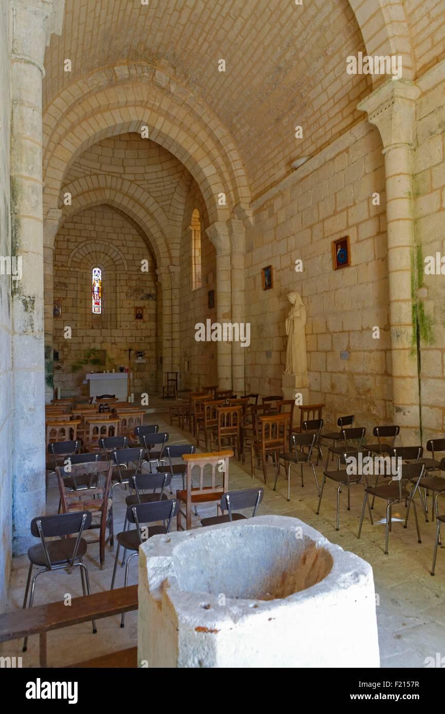 France, Charente, Saint Simon, parish church of St Sigismund, 12th and 13th century - Stock Image