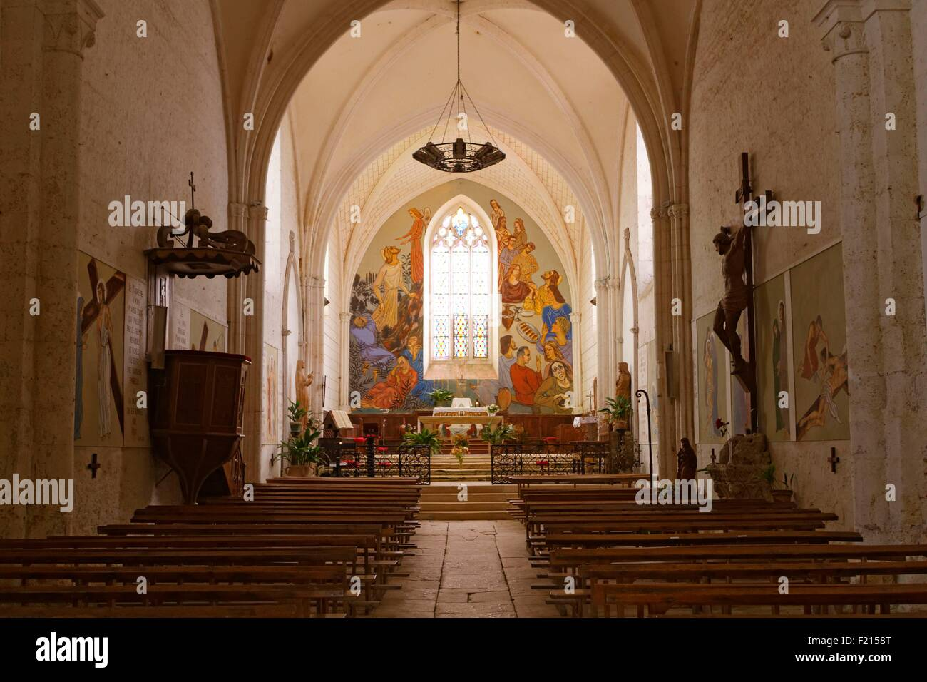 France, Charente, Tusson, Saint Jacques church, consecrated in 1227, rebuilt in the 15th century - Stock Image