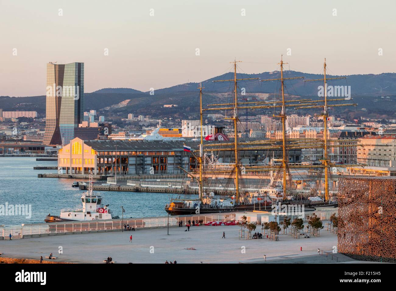 France, Bouches du Rhone, Marseille, the J4, CMA CGM tower by architect Zaha Hadid, and the Russian Krusenstern - Stock Image