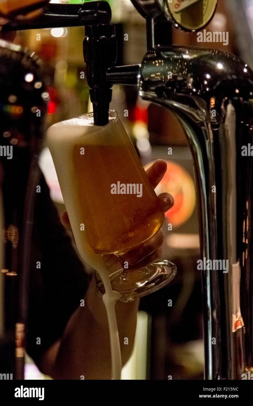 United Kingdom, Scotland, Highland, Draft beer at the King House Hotel pub - Stock Image