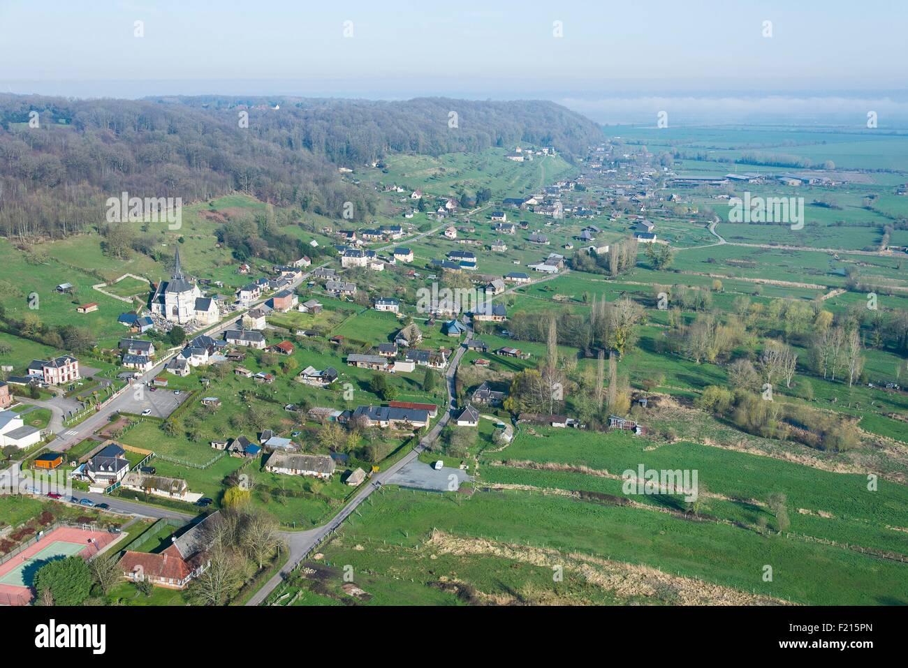 France, Eure, Marais Vernier (aerial view) - Stock Image