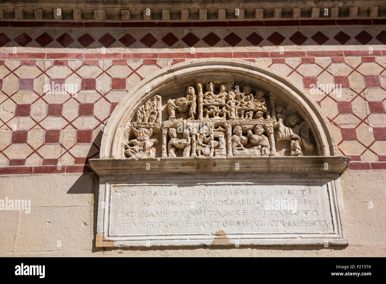 France, Rhone, Lyon, historical site, bas-relief, St Martin d'Ainay Basilica former abbey church of Romanic - Stock Image