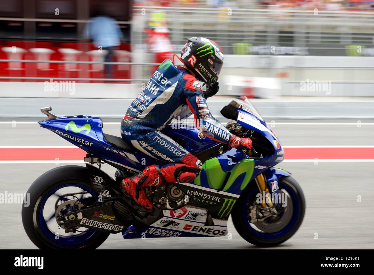 Circuit De Catalunya, Spain 13th June 2015. Movistar Yamaha rider Jorge Lorenzo leaving the pit lane during qualifying - Stock Image