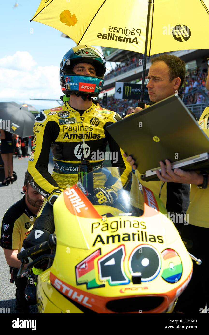 Circuit De Catalunya, Spain 14th June 2015. Alex Rins waiting on the start grid for the Moto 2 race of the Gran - Stock Image