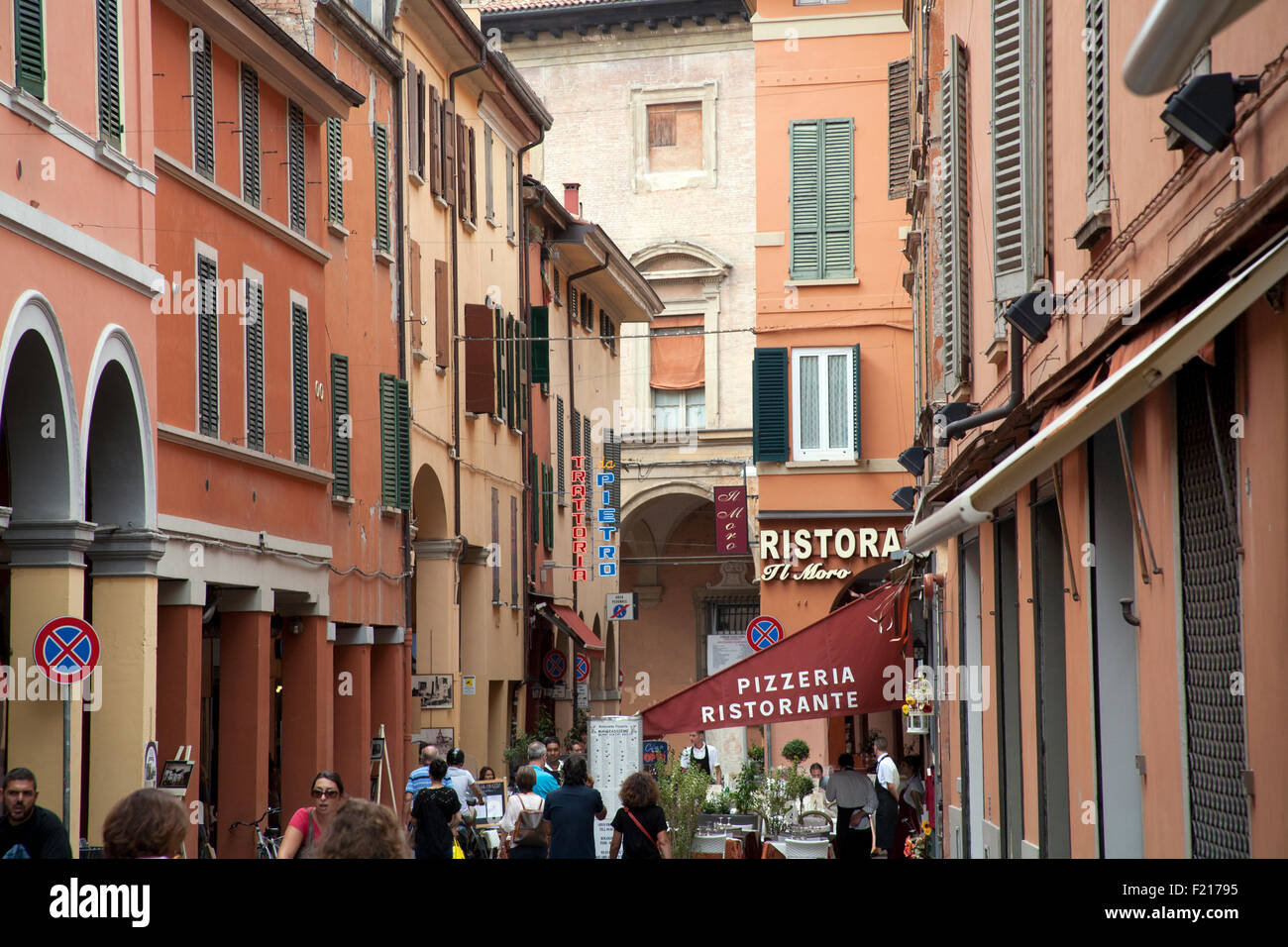 Busy street off the Via Indipendenza Bologna Italy - Stock Image