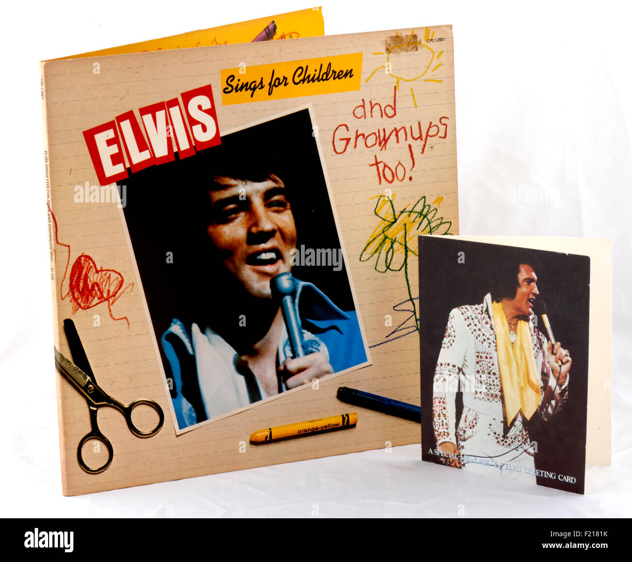 """Elvis Presley vinyl record album """"Elvis Sings for Children and Grown Ups Too"""" gatefold sleeve with included picture Stock Photo"""