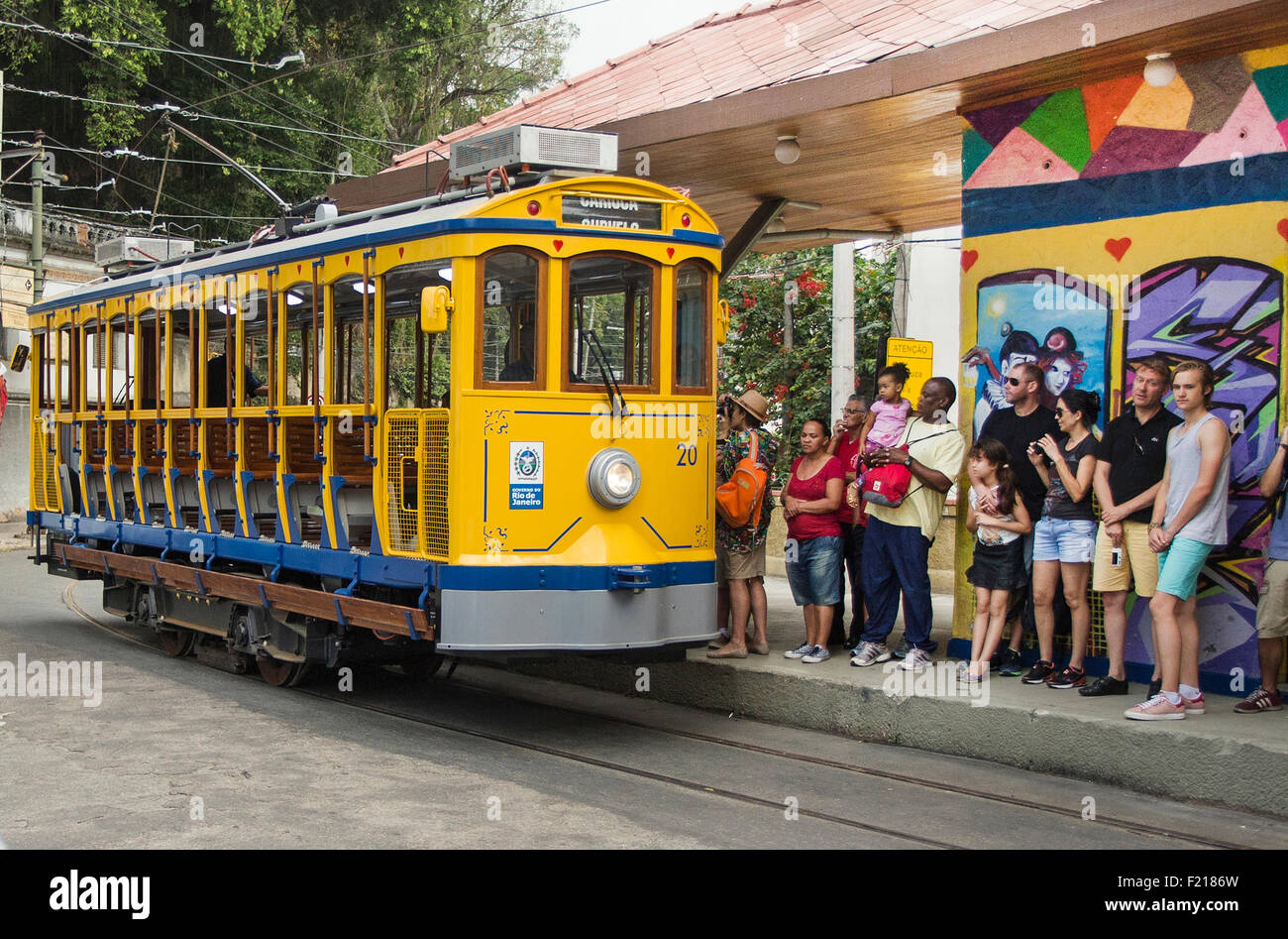 Rio de Janeiro, Brazil July 27th,2015-Tourist lines to embark in a traditional street car at Curvelo station on - Stock Image